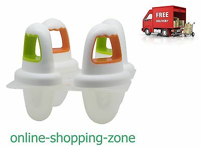 Set 4 NUK Baby Mini Ice Lolly Moulds, Fresh Fruit Lollies Soothing Sore Gum