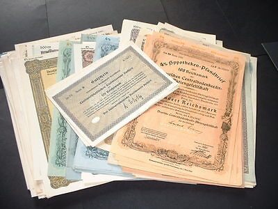 GERMANY ORIGINAL 25 DIFFERENT  (1920s TO 1940s ) BONDS GOLD & REICHMARKS