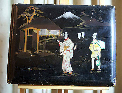 72 antique hand-tinted & b/w photographic Japanese postcards in lacquered album