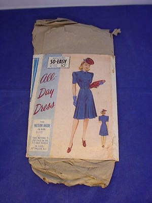 """Vintage Weldons c1940 Sew Easy All-Day Dress Sewing Pattern 36"""" Bust Classic"""