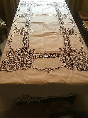 "white linen and lace table cloth, banquet, large. 18 napkins, unused 100"" x 68"""