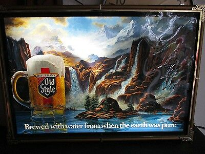 VTG. 1986 OLD STYLE BEER 8 WATERFALL MOTION BAR LIGHT PUB advertising SIGN