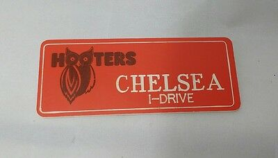 HOOTERS RESTAURANT GIRL CHELSEA ORANGE NAME TAG / PIN -  Waitress Pin