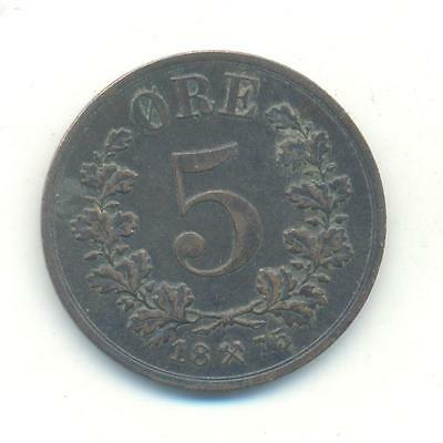 Very Rare.norway.5.ore.1875.key Date.high Grade.very Low Mintage.