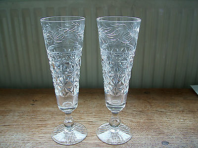 2 Signed Stuart Mansfield Cut Crystal Champagne Glasses