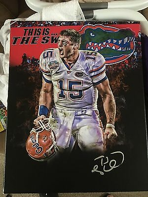 Tim Tebow Signed 16x20 Custom Canvas Florida