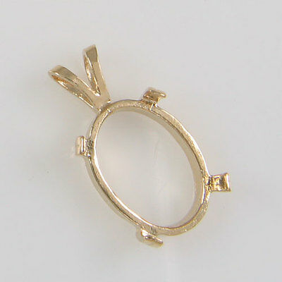 Prenotched 14X10 Oval Solitaire Cabochon Pendant In 10K Gold Cp158-10Ky