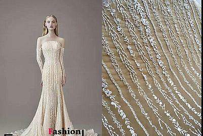 1 Yard Venice Paillette Lace Fabric Ivory Tulle Floral Alice Embroidered Bridal