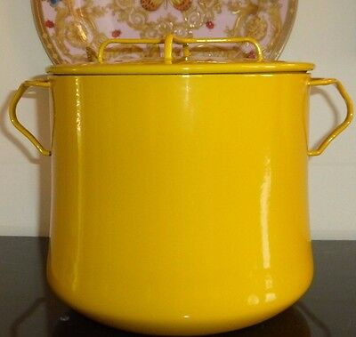 Vintage Dansk Kobenstyle Cast French Iron And Enamel 8 Qt Yellow Stock Pot