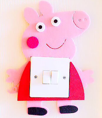 Supe Cute 3D Peppa Pig George Light Switch Wall Sticker Kids Boys Girls Nursery