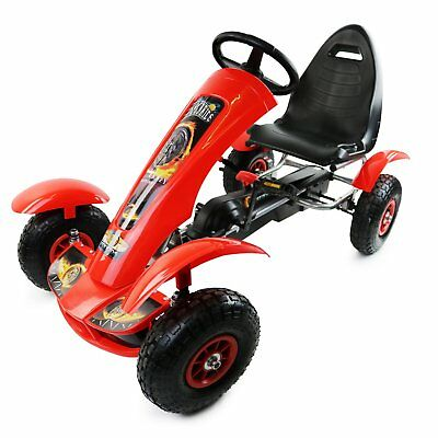 NEW! Deluxe Red Kids Childrens Pedal Go-Kart Ride-On Rubber Wheels
