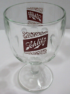 SCHLITZ BEER GLASS ~ Thumbprint Stemmed Beer Goblet