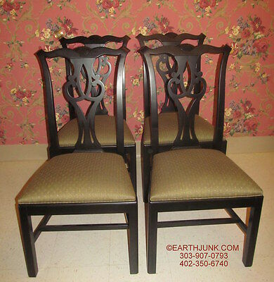 Ethan Allen Chippendale Side Chairs 31 6221 Antique Black Collector's Classics