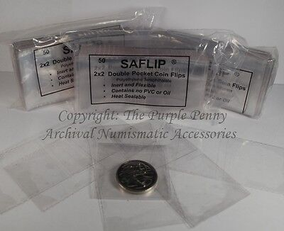 """SAFLIPS 2x2"""" Coin Holder 50pk PVC FREE Saflip Coin Safe No Staples or Adhesives"""