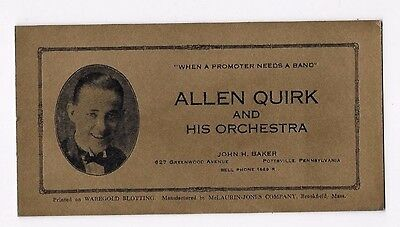 Vintage ALLEN QUIRK AND HIS ORCHESTRA Pottsville PA Blotter