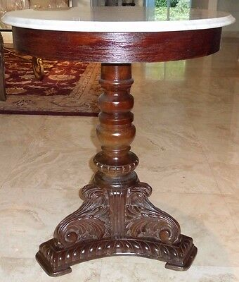 Vintage Mahogany Hand Carved Pedestal Round Coffee Table With White Marble Top