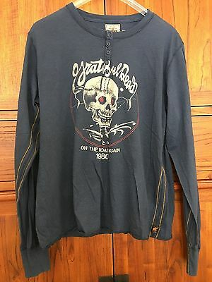 vintage TRUNK ltd ed men's long sleeve henley w Grateful Dead 1980 tour graphics