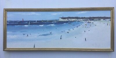 D Pyl Framed Beach Scene Oil Painting