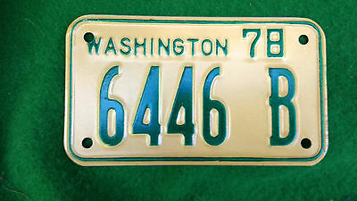 1978  WASHINGTON STATE WA Dealer Motorcycle License Plate 6446 B reflective NM !