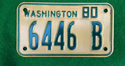 1980  WASHINGTON STATE WA Dealer Motorcycle License Plate 6446 B  EXC!  NM