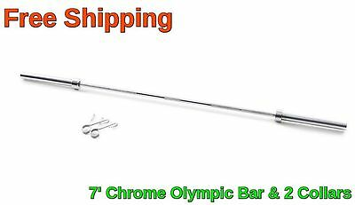 Olympic Chrome Bar 7 Ft Weight Lifting Workout Gym 45 Lb Barbell New