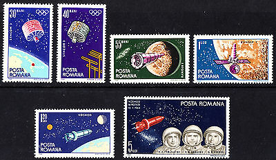 Romania 1964 1965 Mint Space - Satellites and Moon Research Stamps  MNH