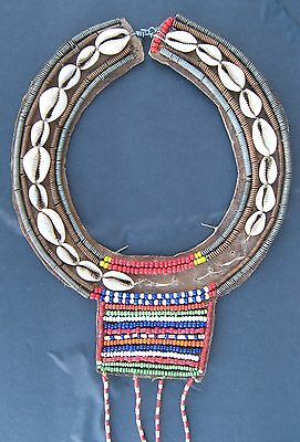 Vintage Maasai Disc Neck Ornament Beaded Shell Wire Africa African Tribal