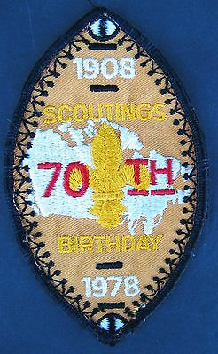 Vintage Boy Scouts Canada 70Th Anniversary Embroidered Patch 1978 Shield