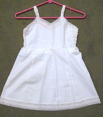 1960 Girl's 6X slip; Wide lace at neck and hem. Her Majesty brand, Penney's. NEW