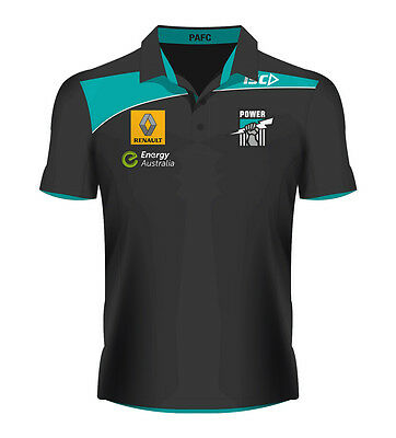 Port Adelaide Power AFL Players ISC Black Polo Shirt Size S-5XL! 5