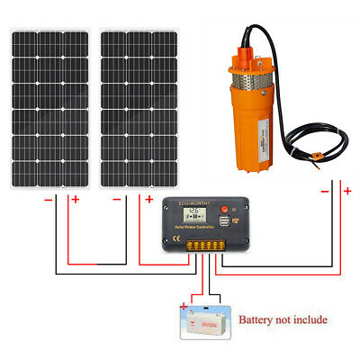 24V Deep Well Water Pump + 200W Solar Panel w/ Controller for Pond Submersible