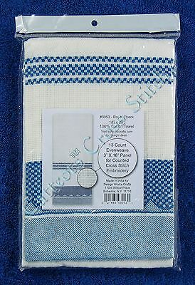 "Cross Stitch Kitchen Tea Towel Royal Blue Check With Aida 100% Cotton 18"" x 28"""