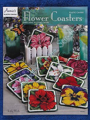 Plastic Canvas Pattern Flower Coasters 13 Floral Designs Rose Pansy Iris Tulip