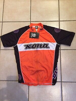 Kona XC Short Sleeve Full Zip Cycling Riding Jersey Large Brand New