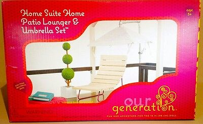 Our Generation Patio Lounger & Umbrella Set, Fits American Girl dolls, Brand New