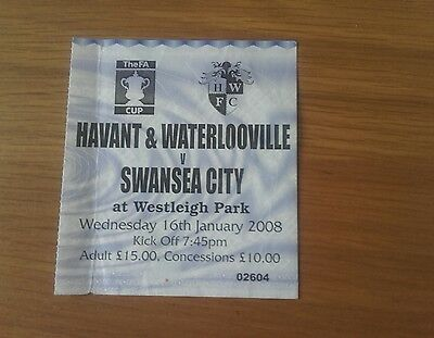Havant & Waterlooville V Swansea City Ticket 16/01/08 Fa Cup 2Nd Rnd Replay Rare