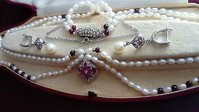 Wedding ? Vintage Style .A Beautiful Sterling Silver Set.Ruby and Cultured Perls