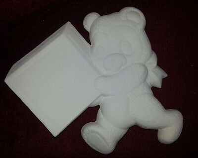 ceramic bisque Teddy Bear Sign/name plaque. 220mm appx. Ready to paint or glaze.