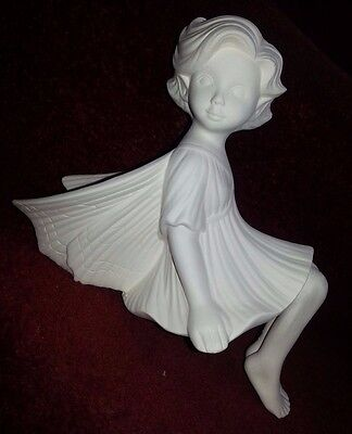 ceramic bisque Fairy Shelf Sitter. 200mm approx. Ready to paint or glaze.