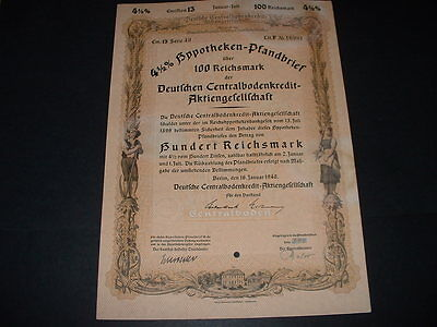 Gremany / Berlin 16/1/40 100,reichmarks War Bond  With Embossed  State Seal