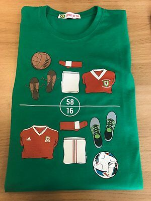 Wales football Spirit of 58 1958 Kit v 2016 Kit t-shirt XL Green
