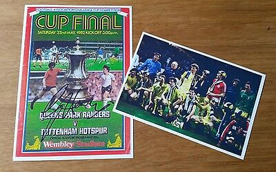 Glenn Hoddle Signed 1982 FA Cup Final Programme Cover 7x5 PHOTO - Spurs v QPR