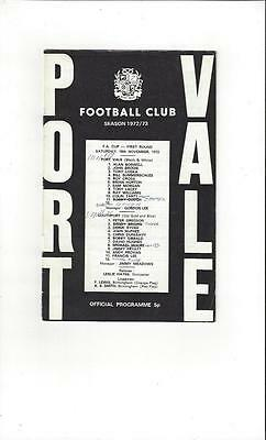 Port Vale v Southport FA Cup 1972/73 Football Programme