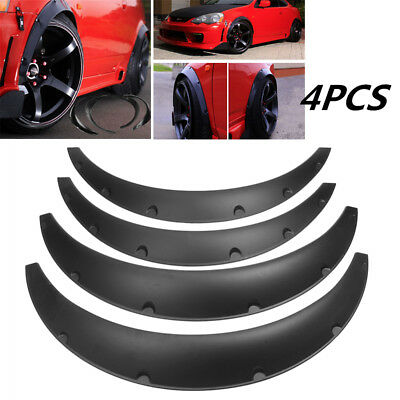 4pc Universal Front Rear Car Fender Flares Over Wide Body Wheel Arches Trims ABS