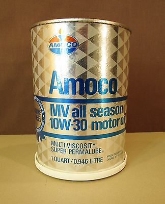 AMOCO OIL CO. SALESMAN ADVERTISING PROMO TIN 10W-30 MOTOR OIL CAN COIN BANK w/AD