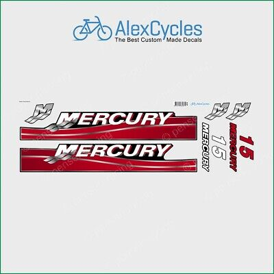 MERCURY Marine 15 HP Outboadrs Motor Red Laminated Decals Stickers Kit Set Boat