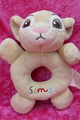 "Disney Store The Lion King ~ SIMBA HAND HELD RATTLE ~ 6"" Baby Soft Plush Toy"