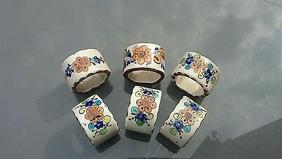 Set of Beautiful Hand Painted Ceramic Napkin Rings by Cat Mexico