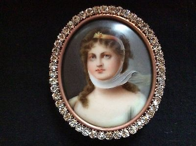 Antique Hand Painted Porcelain Miniature Portrait of Queen Louise of Prussia