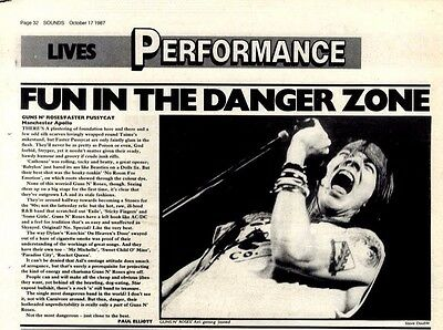 17/10/87pg32 Live Review & Picture, Guns N' Roses/faster Pussycat - Mancheste,